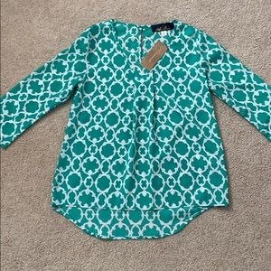 Francesca's blue rain patterned dress shirt